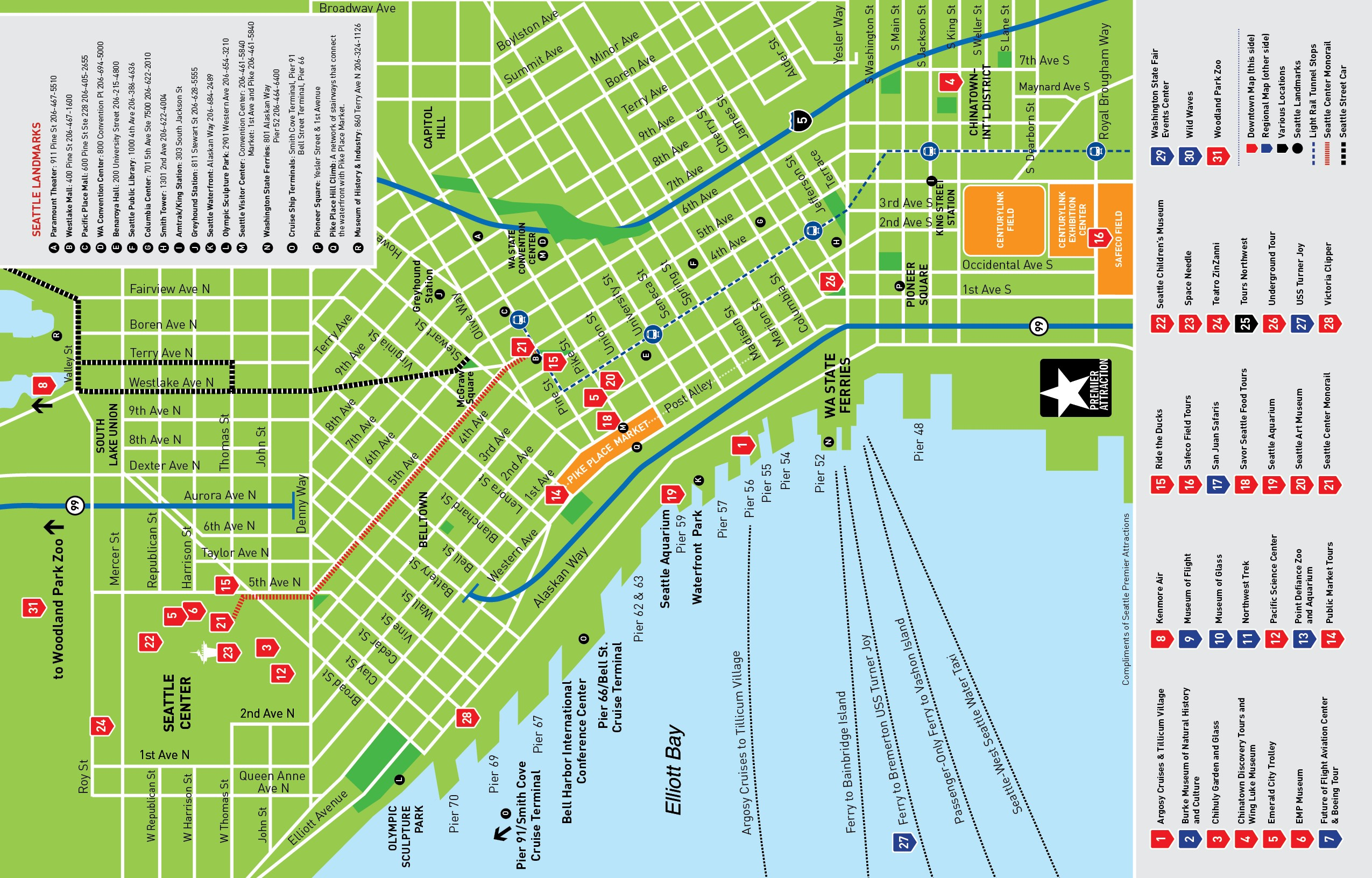 Seattle Washington Map Tourist.Seattle Attractions Map Deep Dish Creative