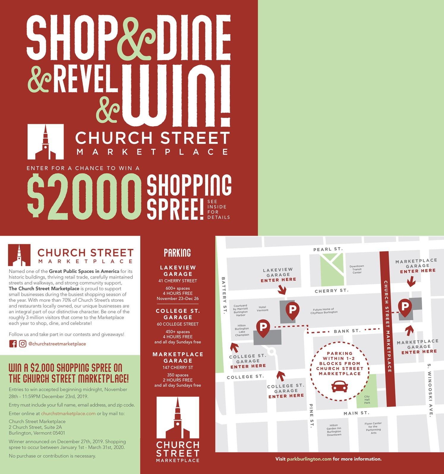 Church Street Marketplace Holiday Promotion Mailer