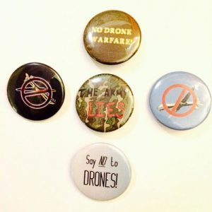 """5 Pack of 1.5 """" Anti-war and/or No Drone Buttons"""