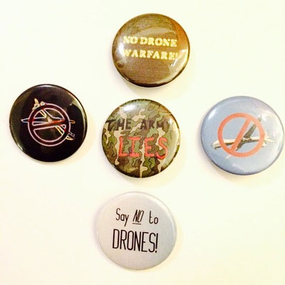 "5 Pack of 1.5 "" Anti-war and/or No Drone Buttons"