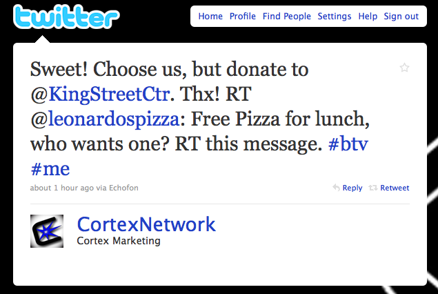 cortex marketing, leonardos pizza, twitte for restaurants, twitter contests