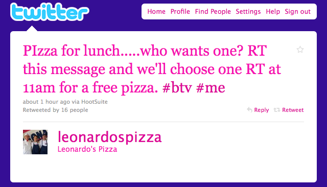 Leonardo's Pizza, twitter for restaurants, twitter contest